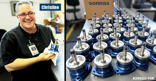 Sonnax Machine Operator Christine Laitres shining up Powerglide Smart-Tech® ratio-style servos