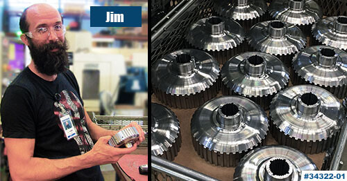 CNC Operator Jim Yeaton preps a brand new batch of forward clutch hubs