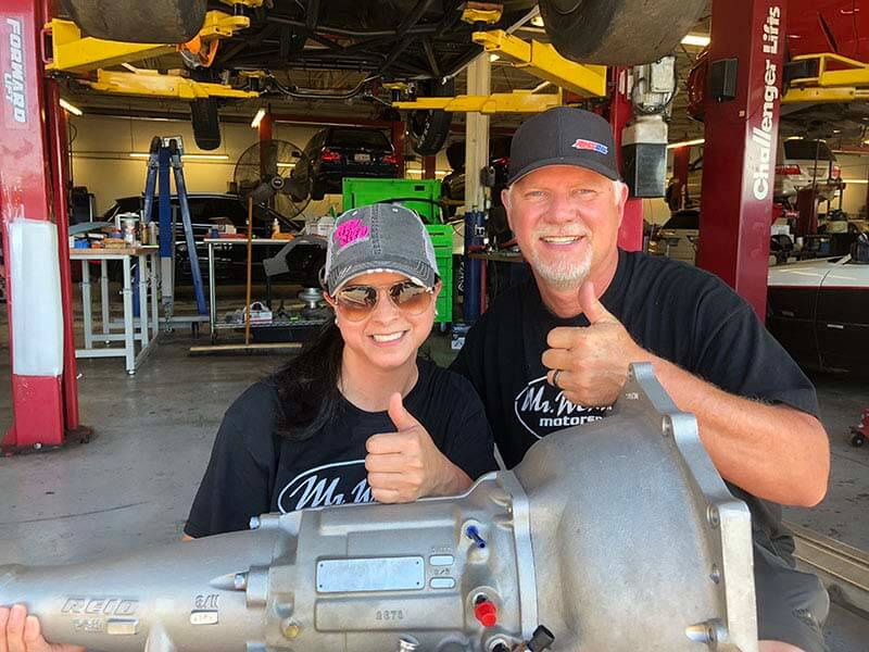 Driver Lea Ochs and custom transmission builder Wendell Dunaway